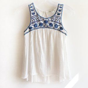White American Eagle Tank Top with Blue Embroidery